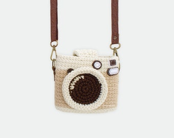 Crochet Case for Fuji Instax Camera - Vintage Camera/ Light Brown Color