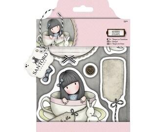 """GORJUSS """" SWEET TEA """" Rare !!  - DOCRAFTs  SANTOROs Cling Stamp Set -  New !!  Gorjuss Girl in a Tea Cup"""