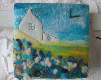 wet felted picture, textile wall art on canvas, 6 x 6 inches