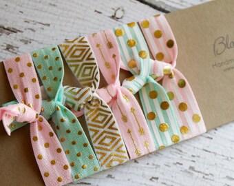 6 pcs Set Pink/Aqua/Gold Elastic Hair Ties - Everyday Wear/Spring/Easter/Gift/Sport/Yoga- Print Elastic Hair Ties - Toddler to Adult