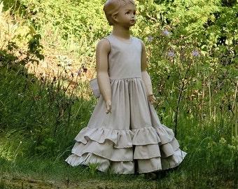 Country chic flower girl dress,organic cotton flower girl.Vintage style flower girl dress.Beach wedding.Rustic flower girl dress.Beige dress