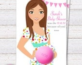 Eos Baby Shower Favors Lip balm -Thank you Favors - Baby Shower Gifts -Pregnant Mom to be in polka dots dress - PRINTABLE