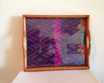 Vintage Latin American Folk Art Textile Tray
