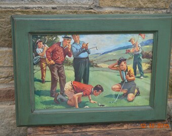 Hy Hintermeijter Golf Print / Handcrafted Primitive Frame