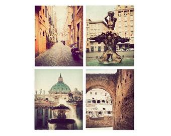 Rome photographs, set of 4, discounted print set, Italy art, Rome decor, Rome photography, Italy pictures
