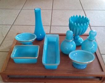 Vintage Avon blue opalescent bristol glass vanity collection