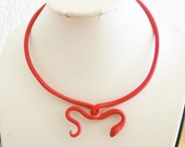 Red snake necklace/flexible polymer clay snake around the neck/ easy to close/ head hooks over the tail/ wears very comfortable