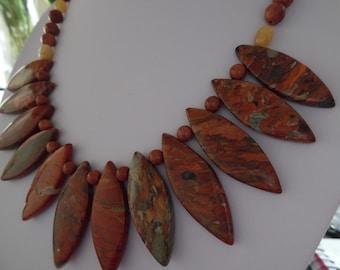 Brown Picture Jasper Sandstone and Jade Necklace