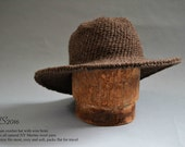 The Georgia Okeeffe Hat / Hat with large wire brim / Riding Hat / Wool Hat / Winter Hat / brown local NY Sheepswool/ Free Size