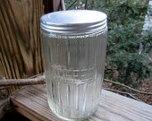 hoosier style glass coffee canister with tin lid