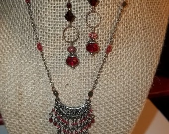 Ruby Bib Silver Tone Choker Pierced Earrings 2 Piece Set