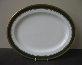 "AYNSLEY Bone China ""CITATION"" Green Band Encrusted Gold Oval Serving Dish Platter"