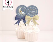 LOVE YOU To The MOON Baby Shower Cupcake Toppers Printable