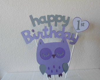 Owl First Birthday -Owl Birthday- Girls Owl Birthday- Owl Birthday Cake Topper