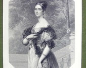 QUEEN VICTORIA Court Beauty Lady Angela Pearson - SUPERB Fine Quality Antique Print Engraving