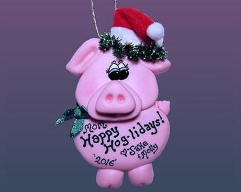 Pig Santa Ornament