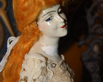 Vintage Half Doll Redhead on a Wood Pedestal Stand
