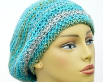 Semi Slouchy Beanie , adult hat in teal Blue , Crochet winter beanie , Gift For Her , Gift under 20 , ready to ship
