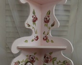 Two Level  handpainted Shelf, Soft Pink, Handpainted Roses, Corner Shelf, Victorian, Country, Cottage