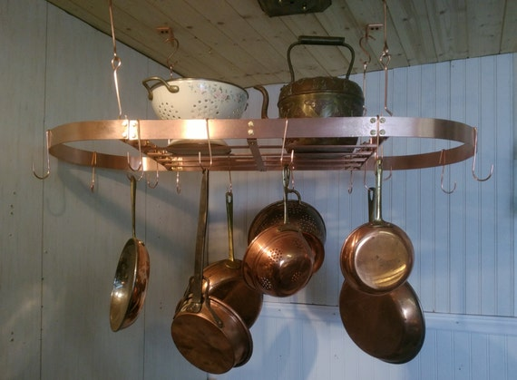 36 in by 18 in Oval Pot Rack SOLID Copper Made to order FREE U S Shipping