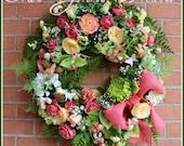 SALE- Coral Summer Victorian Garden Wreath, Spring Wreath, Mother's Day Wreath, Cottage Garden wreath