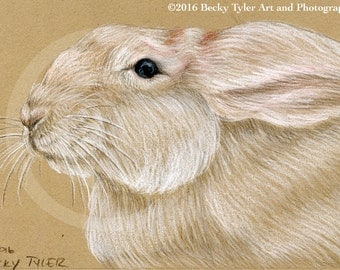 White Rabbit Original Drawing, Eco Friendly Art