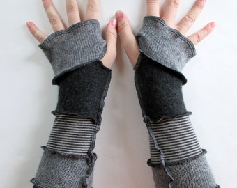 Arm Warmers - Gothic Clothing - Fingerless Gloves - Texting Gloves - Gauntlets - Hippie Gloves - Festival Attire - Recycled Sweaters