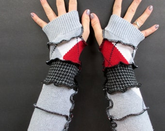 Long Fingerless Gloves - Gypsy Clothing - Cotton Gloves - Festival Clothing - Vegan Clothing - Recycled Sweaters - Arm Warmers - Argyle