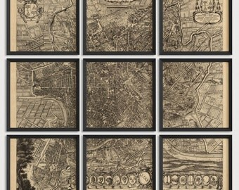Old Rome Map Art Print 1708 - Set of 9 Prints - Antique Map Archival Reproduction