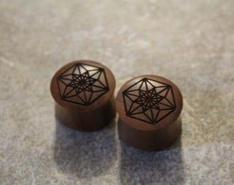 Flower Mandala / Sacred Geometry Plugs - 19mm