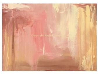 Abstract Oil Painting Modern Art Rose Quartz Pink Cream Yellow 5X7 Giclee Print Minimalist Art Home Wall Decor Beach House Desert Decor
