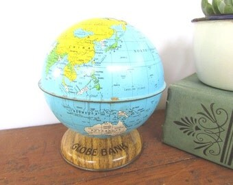Tin Globe Bank Vintage Toy Bank