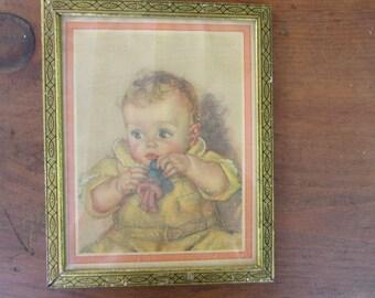 Framed Baby Picture Vintage Gold Frame Framed Illustration