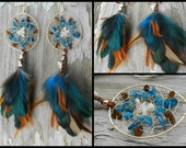 Aura Goddess Bohemian Hippie Dream Catcher Earrings with Hand Arranged Feathers by The Emerald Lotus