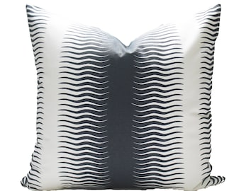 Decorative Dwell Studio Stripe, Midnight Pillow Cover, 18x18, 20x20, 22x22 or Lumbar, Throw Pillow