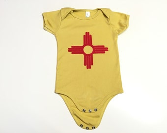 New Mexico Flag Zia  Onesie 100% organic cotton Infant baby
