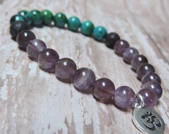 Amethyst Chrysocolla Lava Bracelet, Chakra Bracelet, Healing Meditation Bracelet, Yoga Bracelet, Wrist Mala, Om Bracelet, Buddhist Bracelet