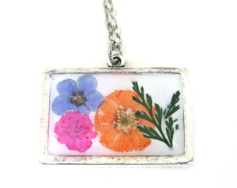 Flower Collage Resin Necklace - Real Pressed Flowers Encased in Resin - Pressed Flower Jewelry - Pink Flower - Forget me Not, Daisies, Fern