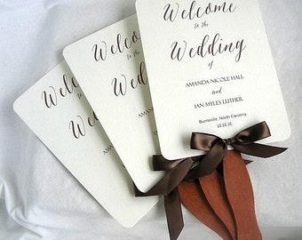 Items similar to wedding ceremony paddle fans ceremony program wedding program custom colors for Wedding paddle fans