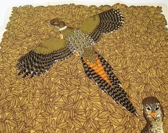 Vintage Tea Towel Fallani & Cohn Lois Long Pheasant Linen Tea Towel