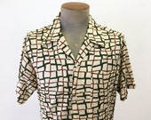 1960s Vintage Men's Shirt Bold Abstract Patterned Cream, Forest Green & Rust Brown Color Short Sleeve Mad Men Era Shirt - Size LARGE