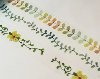 3 Rolls Washi Tape- Vines, Leaves, and Flower