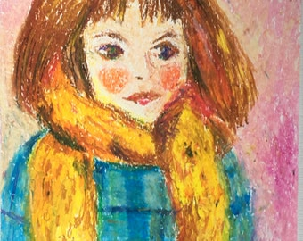Original Oil Pastel Portrait Painting/ Illustration- Girl in a Yellow Scarf