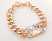 Rose Gold Bracelet chunky chain swarovski crystal statement bracelet MATERIAL GIRL