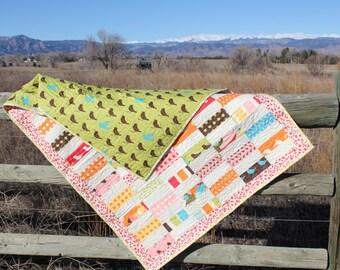 "Modern Spring Deer and Birds Baby Quilt  (38"" x 50"")"