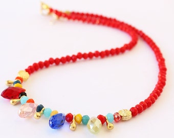 Red crystal beaded necklace, red necklace, crystal necklace, colorful necklace, best friend birthday gift, mother gift