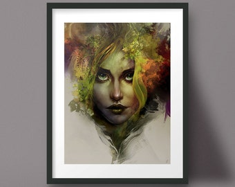 Female Portrait Painting Nature Art Print Forest Abstract