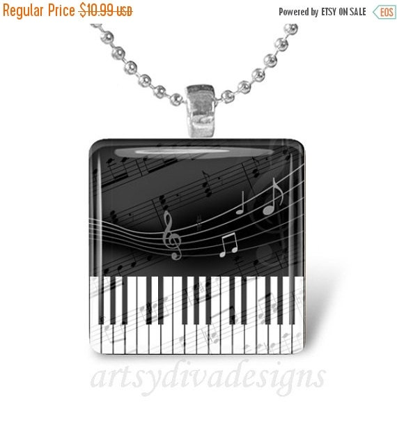 10% OFF VALENTINE SALE : Musical Piano Keyboard Music Notes Glass Tile Pendant Necklace Keyring