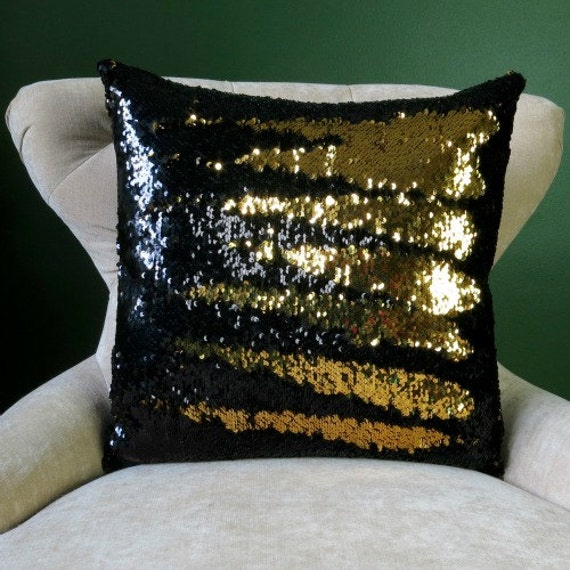 mermaid pillow gold and black reversible sequin cushion. Black Bedroom Furniture Sets. Home Design Ideas