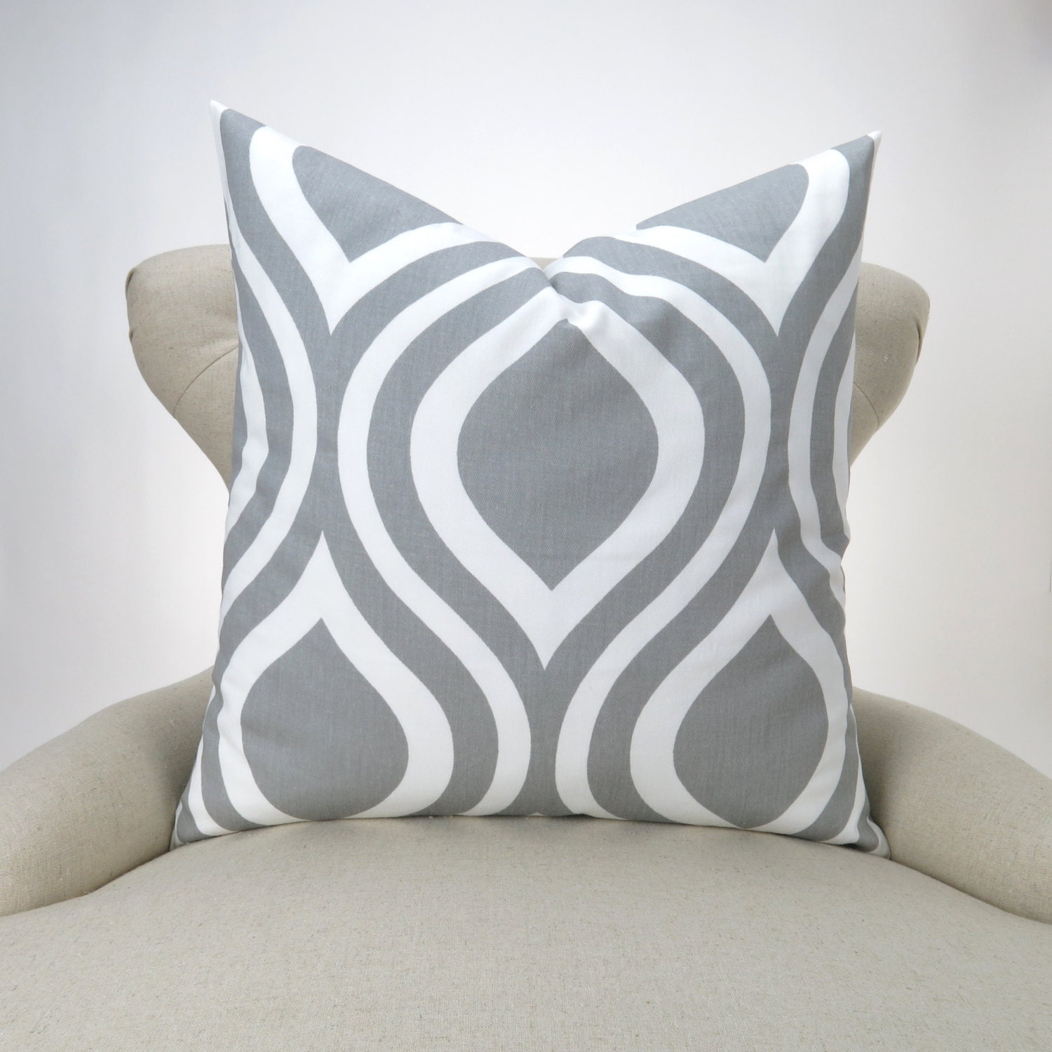 Ready Made Decorative Pillow Covers : Ready to ship Gray Pillow Cover ogee pattern Emily storm